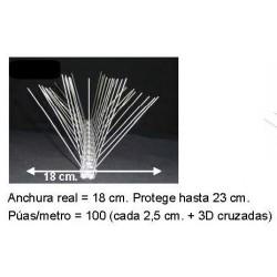 Pinchos Palomas Acero Protecc 23 cm.    Precio por metro